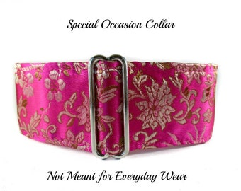 Hot Pink Martingale Collar, Silk Martingale Collar, Whippet Collar, Silk Dog Collar, Silk Brocade, Fancy Dog Collar