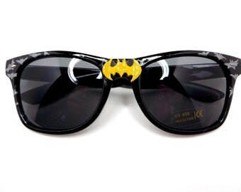To The Batcave!- Batman Inspired Black Wayfarer Sunglasses With Yellow Logo and Grey Bats on Sides
