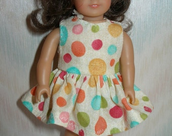Dress for 6 1/2 inch dolls --  Beige with Multi Colored Dots