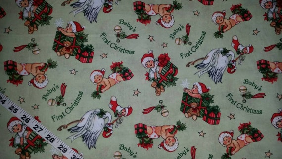 Baby 39 s first christmas fabric retro stork presents cotton for Retro baby fabric