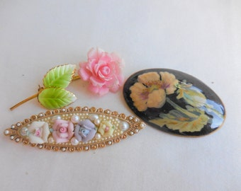 Vintage LOT of 3 Flower Brooch Pins PORCELAIN and Russian