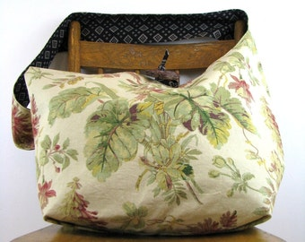 SLOUCHY HOBO BAG - Floral Bag - Crossbody Bag - Over Shoulder Bag - Vegan Bag - Slouch Bag - Crossbody Purse - Hippie Bag - Oversized Bag