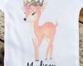 NEW Personalized Crowned Deer Onesies® or Shirt, Welcome Home Baby Onesie, Custom Onesie, Baby Deer Onesie, Boho, Woodland Onesie, Newborn