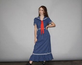 70% Off FINAL SALE - Vintage 1960s Nautical Denim Jean Sailor Maxi Dress - Vintage Denim Maxi Dress   - WD0701