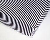 Black White Baby Bedding - French Stripe / Standard or Mini Crib Sheet Options / Changing Pad Cover / Black Stripe Crib Sheet / Baby Sheets