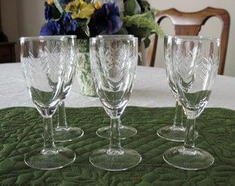 6 Vintage Javit Whiskey Sour Glasses Rain Pattern Circa 1960's