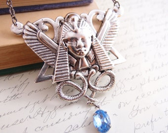 Egyptian goddess necklace, vintage aqua blue glass jewel, aged stelring silver plated brass,
