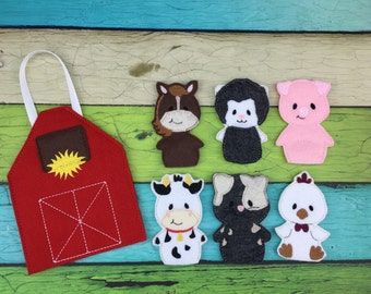 Farm/Barn finger puppet set- cow, sheep, pig, horse, and chicken puppets, finger puppets