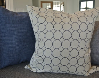 Navy and Cream Circle Pillow Cover/ 20x20