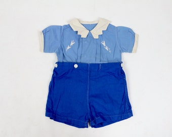 Vintage Baby Clothes / 1920s Baby Romper 1930s Baby Romper / Shirt Short Set / Blue Romper Size 1 2 12 18 24 Months New Mom Shower Gift