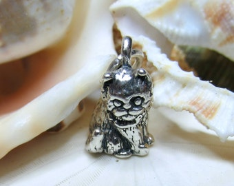 Sterling Silver 3D Kitten Cat Charm Pendant 4 grams