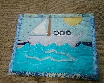 Sailboat mug rug, table mat, nautical decor, candle mat