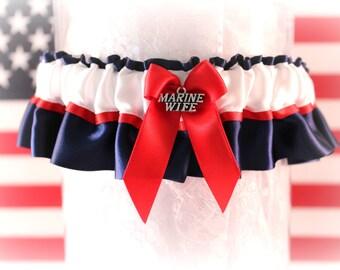 USMC Wedding Garter - Military Dress Blue Garter - Military Garter - Marine Wedding Garter - Patriotic Garter  - Something Blue.