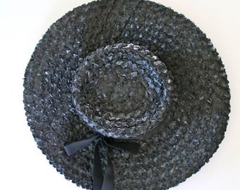 vintage 1960s straw hat - VALERIE black straw wide brimmed hat