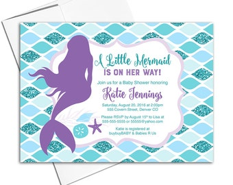 Mermaid baby shower invites girl   printable invitations   purple teal blue glitter   DIY or printed - WLP00706