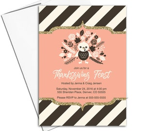 Thanksgiving invitations | fall party invites | brown, cream, peach thanksgiving invites | printable or printed - WLP00570