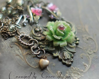 Antique Rose~ vintage assemblage necklace garden ornate repurposed one of a kind necklace crowned by grace