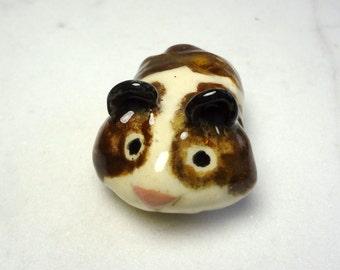 Teddy Bear Hamster  - Terrarium Ceramic Figurine - Hamster Figurine - Small Pet Hamster - Pottery Animal - Brown and White  Hamster