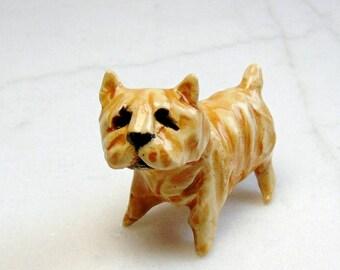 Norfolk Terrier Puppy -  Miniature Terrarium Figurine - Dog Miniature - Dog Figurine - Pottery Dog - Clay Puppy