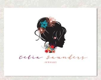 Logo Design - Silhoutte Flower Logo - Boutique Logo -  Floral Logo - Flower Logo - Event Logo  - Premade Logo Design - Jewelry Logo Wedding