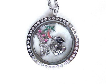 Personalized floating charm locket graduation necklace, stainless steel twist locket with initial, you choose charms from pic, gift for grad