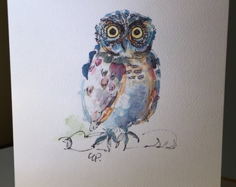 Set of Six Owl Printed Watercolor Cards