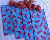 Children's Cloth Napkins, 2-Sided Reversible  - Elmo on Blue - Set of 4 - Lunch Box Napkins, Reusable Napkins, Kids Napkins