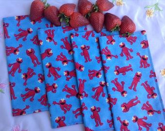Children's Cloth Napkins, 2-Sided Reversible  - Elmo on Blue - Set of 4 - Lunch Box Napkins, Reusable Napkins, Kids Napkins, Sesame Street