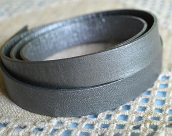 "32"" of 15mm Genuine Metallic Grey Silver Flat Leather Lace Cord Wide Strap Lace"