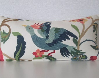 Lucy Eden colorful floral exotic bird decorative pillow cover