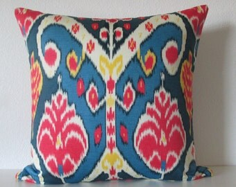 Market Marvel Gemstone vibrant bright colorful ikat blue cherry red yellow decorative pillow cover