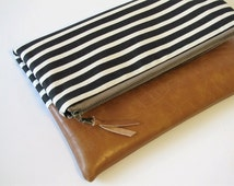 Foldover Clutch, Vegan Leather Clutch Bag, Modern Black Clutch Purse, Ipad Kindle Case, Summer Clutch, Bridesmaid Gift, Gift for Her