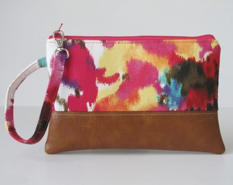 Spring Summer Wristlet Wallet, iPhone wallet, Vegan Leather Clutch Purse, Cellphone Wristlet, Boho Zipper Pouch, Boho Clutch,Gift For Her
