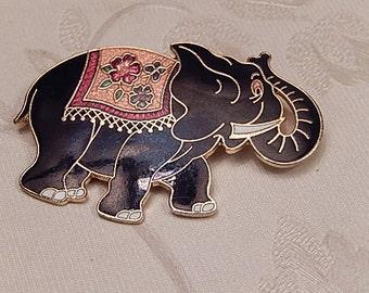 Elephant Brooch, Vintage  Brooch, Cloisonné Brooch, Enamel Pin, Gift for Her