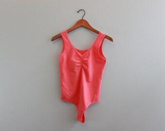 Vintage Peach 80s Thong Bodysuit
