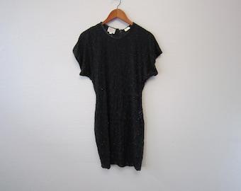 Vintage 80s Beaded Dress Silk Little Black Dress by Stenay