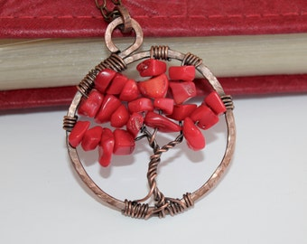 Tree Of Life Pendant / Red Jasper / Wire Wrapped Copper Jewelry / Feng Shui Jewelry