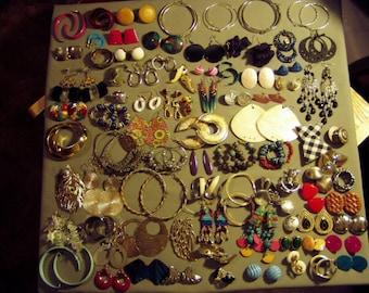 Vintage Lot 61 Pairs Pierced Earrings 2 Pairs Screw Backs & 19 Pairs Clip Earrings 8673