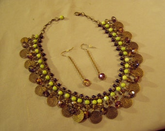 Vintage 1970s Brass & Glass Bead Fringe Necklace With Matching Long Pierced Earrings 8605