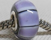 Large Hole Glass Lampwork Bead European Charm Bead Black with Purple Stripes Silver Cored