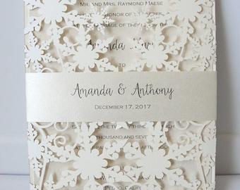 Captivating Winter Wedding Invitation, Snowflake Wedding Invite, December Wedding, Winter  Wonderland Wedding, Snowflake