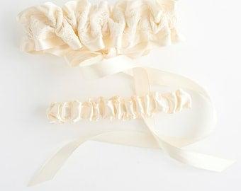 Lace Garter Set, Lace Wedding Garter Set, Lace Bridal Garter, Corset Garter, Corset Wedding Garter - Glamorous Garter Set by The Garter Girl