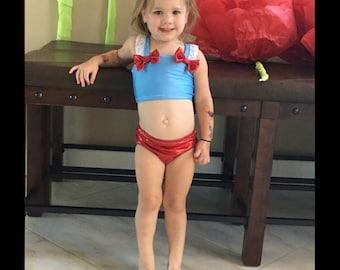 Girls Custom Dorothy inspired swimsuit