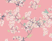 Sale Fabric Art Gallery Cherry Blossom Cotton Quilt Fabric, Pandalicious Bao Bao Pink Flower Fabric by The Yard
