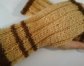 Coffee and Chocolate Coloured Handknit wristers fingerless mitts or gloves knit from pure Australian wool