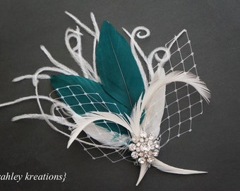 Modern Wedding Bridal Feather Fascinator Bride Bridesmaid ELLETHWEN Headpiece Hair Clip White Ivory Teal Green Birdcage Veiling Rhinestones