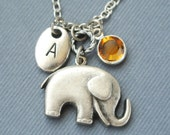 Initial Birthstones Elephant Necklace, Personalized Initial Elephant Necklace, Elephant handstamped Jewlery,Lucky Initial Elephant Necklace