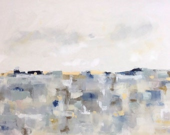 Large Abstract Seascape Landscape -Patchwork Greys Landscape 48 x 30