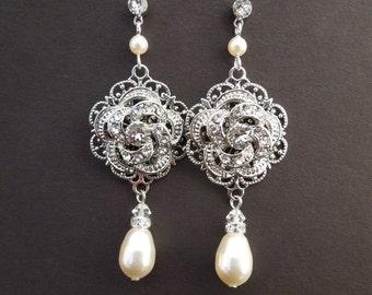 Pearl Earrings, pearl and rhinestone earrings, Bridal Wedding Earrings, Rhinestone Wedding Bridal Earrings, teardrop earrings, ROSELANI