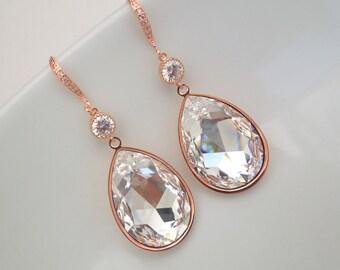 Bridal Earrings Swarovski Crystal Earrings Bridal Teardrop Crystal Earrings Statement Earrings Chandelier Wedding Earrings Rose Gold NICKY